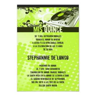5x7 Lime Green DJ Turntable Quinceanera Invitation