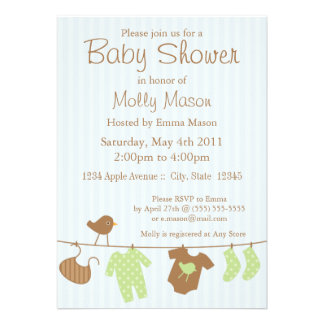 5x7 Lt Blue Baby Clothes Baby Shower Announcement