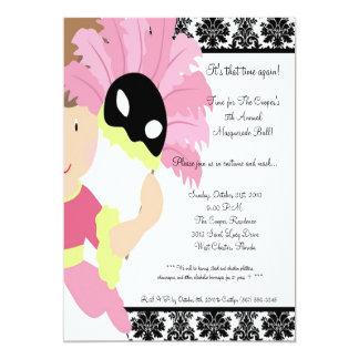 "5x7 MasqueradeBall Halloween Bash Party Invitation 5"" X 7"" Invitation Card"