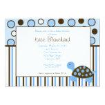 5x7 Mod Turtle Blue Trendy Dot Baby Shower Custom Invitations