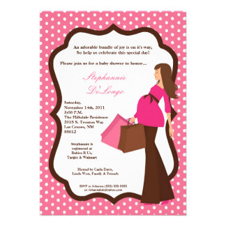 5x7 Modern Mod Mom Shopping Baby Shower Invitation