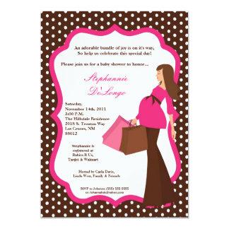 "5x7 Modern Mod Mom Shopping Baby Shower Invitation 5"" X 7"" Invitation Card"