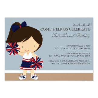 5x7 Navy/Red Cheerleader Birthday Party Invite