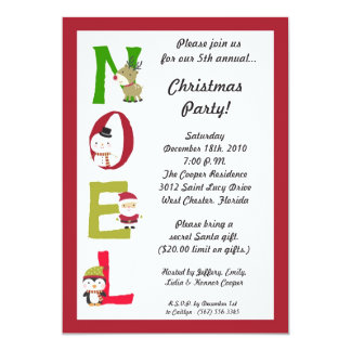 5x7 NOEL Santa Snowman Christmas Party Invitation