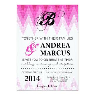 5x7 Ombre Chevron Pink Wedding Invitation