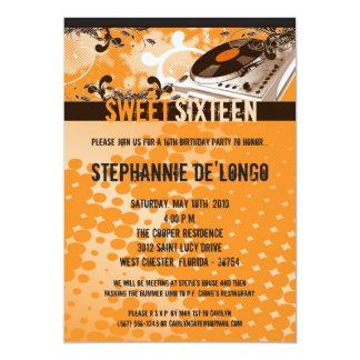 5x7 Orange DJ Turntable16th Birthday Invitation