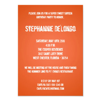 5x7 Orange DJ Turntable 16 Birthday Invitation