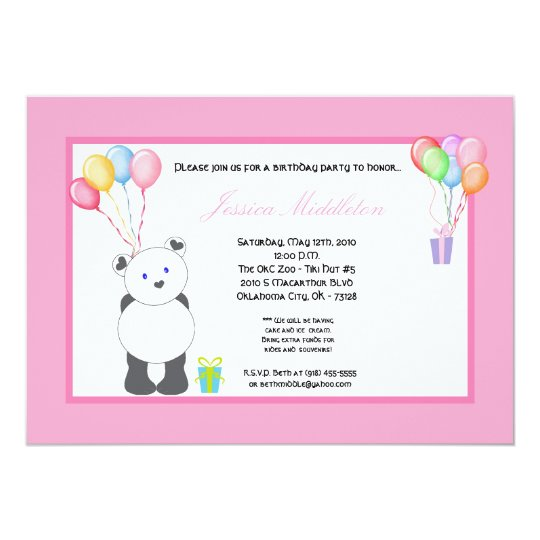 5x7 Panda Bear Balloons Birthday Party Invitation