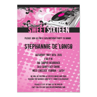 5x7 Pink DJ Spin Turntable16th Birthday Invitation