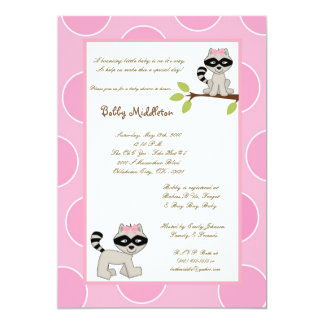 5x7 Pink Girls Racoon  Baby Shower Invitation