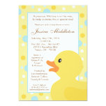 5x7 Polka Dot Rubber Ducky Baby Shower Invitation
