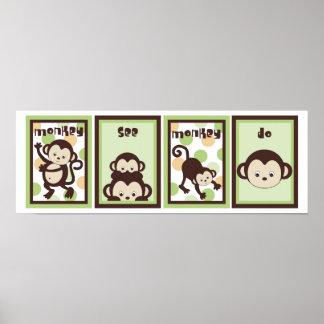 5x7 Pop Monkey Zoo Animal Baby Bedding Wall Art Posters