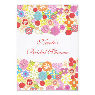 5x7 Pretty Floral Custom Bridal Shower Invitation