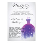 5x7 Purple Dress Quinceanera Birthday Invitation