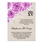 5x7 Purple Roses Quinceanera Birthday Invitation