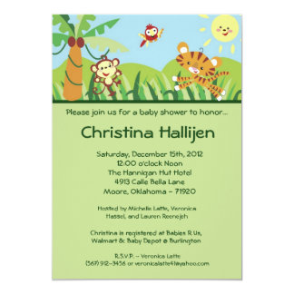 5x7 Rain forest Jungle Baby Shower Invitation