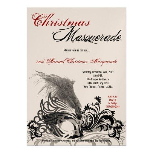 5x7 Red Black Masquerade Christmas Invitation