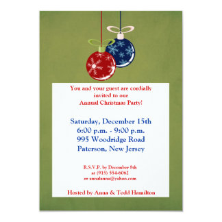 5x7 Red/Blue Hanging Ornaments Invitation