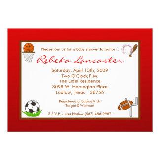5x7 Red Boy Sports Football Baby Shower Invitation