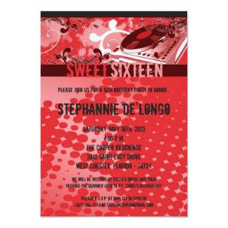 5x7 Red DJ Spin Turntable16th Birthday Invitation