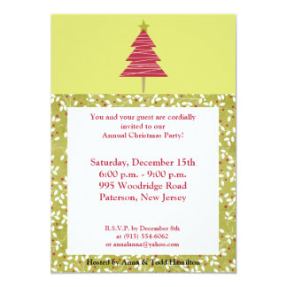 5x7 Red Tree Christmas Holly Invitation