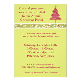 5x7 Red Tree Christmas Holly  Invitation