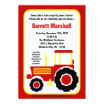 "5x7 Red Yellow Farm Tractor Birthday Invitation 5"" X 7"" Invitation Card"