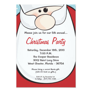 5x7 Santa Clause Beard XMAS Christmas Invitation
