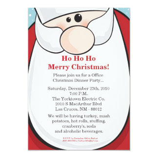 5x7 Santa Clause Christmas Party Invitation