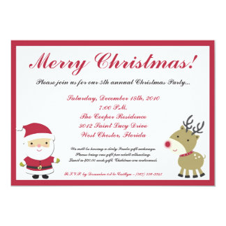 5x7 Santa Rudolf Reinde Christmas Party Invitation