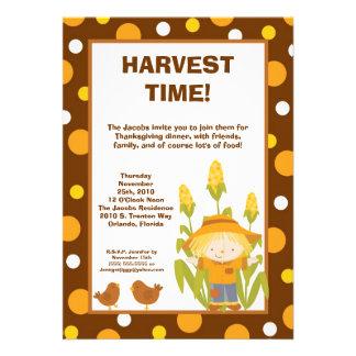 5x7 Scarecrow Chickens Thanksgiving Invitation