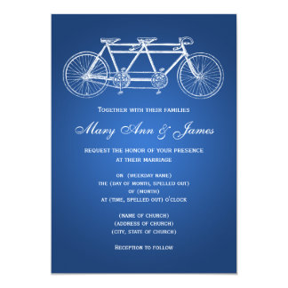 5x7 Simple Wedding Tandem Bike Blue Card