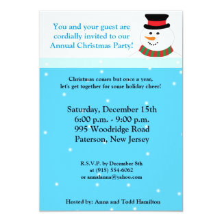 5x7 Snowy Snowman Invitation