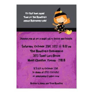 5x7 Spooky Kids Purple Halloween Party Invitation