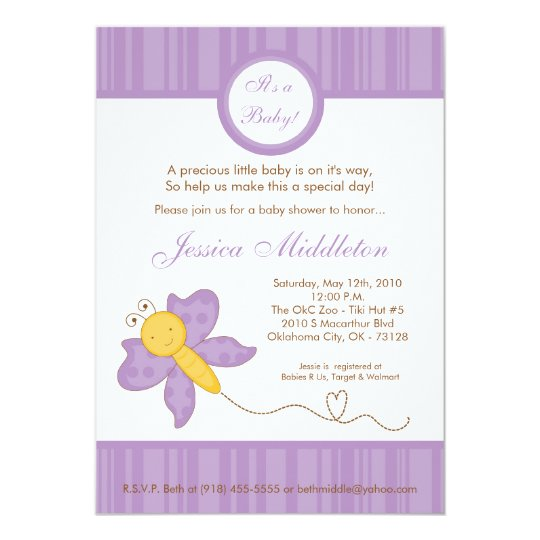 5x7 Spring Purple Butterfly Baby Shower Invitation