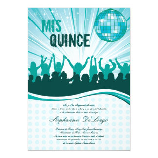 5x7 Teal Dance Party Quinceanera Invitation