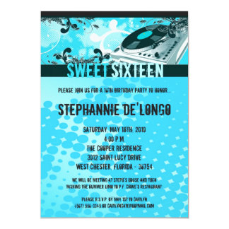 5x7 Teal DJ Spin Turntable16th Birthday Invitation