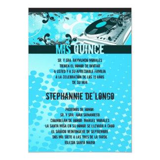5x7 Teal DJ Turntable Quinceanera Invitation