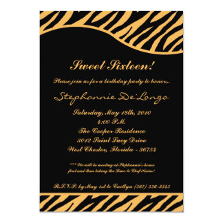 5x7 Tiger Print Sweet 16 Six Birthday Party Invite