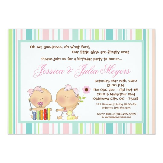 5x7 TWINS Girl Girly Birthday Party Invitation