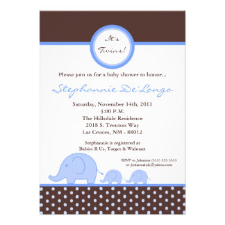 5x7 TWINS Mod Blue Elephant Baby Shower Invitation