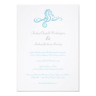 5x7 Wedding Aqua Turquoise Sea horse Beach Invite