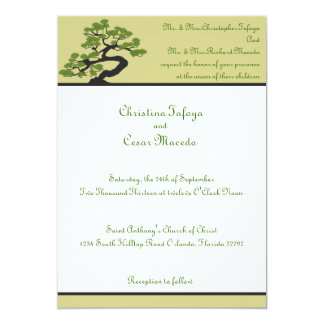 5x7 Wedding Invitation Japanese Green Bonsai Tree