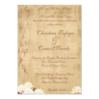 5x7 Wedding Invitation Oriental Flower Water Lilly