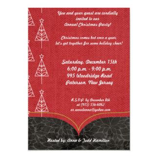 5x7 White Outline Christmas Tree Invitation