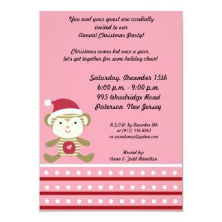 5x7 Winter Monkey in Santa Hat Invitation