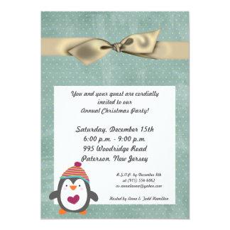 5x7 Winter Penguin Christmas Party Invitation