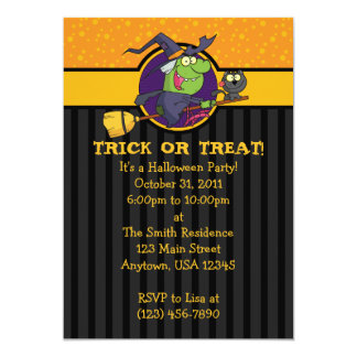 """5x7 Witch With Cat Halloween Party Invitations 5"""" X 7"""" Invitation Card"""
