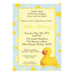 5x7 Yellow Blu Rubber Ducky Baby Shower Invitation