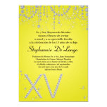 5x7 Yellow Diamond Quinceanera Birthday Invitation 13 Cm X 18 Cm Invitation Card